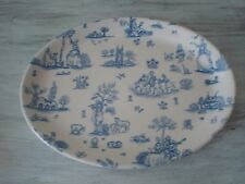 "WOOD & SONS Toile de Jouy Blue 12"" Serving Platter Made In England Mint Conditio"