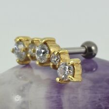 Helix Upper Ear Cartilage Bar Yellow Gold Earring Clear Crystal 1.2 x 6mm New