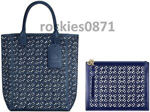 Tory Burch Blue Lace Perforated Faux Patent Leather Large Tote Handbag & Clutch