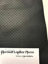 """Black Perforated Scrap Leather Cowhide Remnant 9.5"""" x 12"""" TP31"""