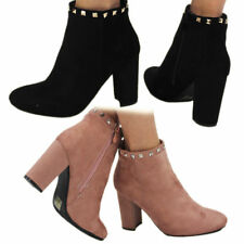 Women's Ladies Ankle Boots Low Mid Block Heels Chelsea Zip Up Girls Shoes Sizes