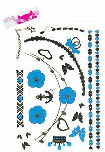 Metallic Jewel Shimmer Temporary Tattoos Body Art Gold Blue Bracelet Necklace