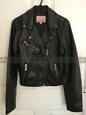 BRAND NEW WOMENS SHRUNKEN BIKER JACKET CROP FAUX LEATHER LADIES ZIP Coat Size L