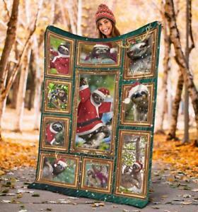 Merry Christmas Gift For Sloth Lovers, Quilt, Fleece blanket Print USA