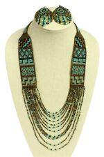 "Czech Glass Beaded Long NECKLACE 36"" & EARRINGS Set Turquoise, Bronze, Black"