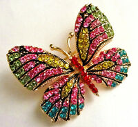 High End BUTTERFLY BROOCH Retro Vintage Estate Style PINK Pastel Rhinestone