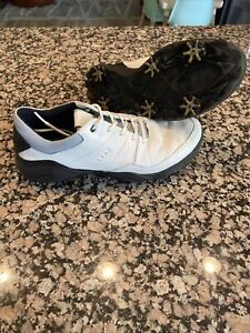 Ecco Men Golf Strike Golf Shoes Spiked - White Yak Hydromax Sz 44 (10 US)