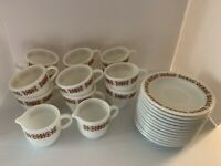 Lot Of 13 Pyrex Corning COPPER FILIGREE 701 6 Cups 6 Saucers 1 Creamer