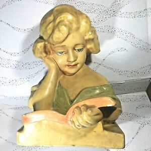 """Girl Reading Book LARGE Ceramic Head Bust (Chalkware?) 12"""" tall 8"""" wide"""