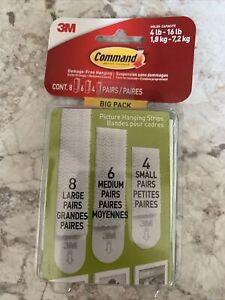Command Hanging Strips Big Pack Assorted Lot 8 Lg 6 Med 4 Sm Set Damage Free