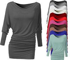 Damen Schulterfreies Top Longtop Shirt Bluse Oberteil Tunika Off Shoulder