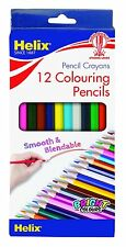 Helix 7 Inch (18cm) Childrens Colouring Pencils - Pack of 12 Assorted Colours