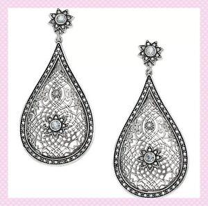 NEW Brighton SAHURI POST DROP Teardrop Silver Crystal Dangle Earrings MSRP $118