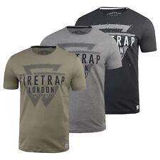 Mens Firetrap T-Shirt Morrin  Short Sleeve Crew Neck Cotton Print Tee Top