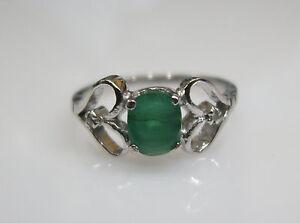 Natural Emerald Diamond Ring 5.75 US Size Sterling Silver Non-treated Fine Quali
