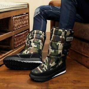 Snow Boots Waterproof Mid-Calf Boot Winter Plush Casual Non-slip Shoes Men Warm