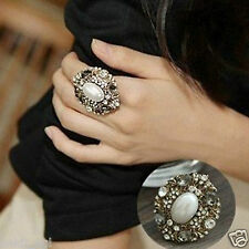 Stile Beautiful Gold Plated Pearl Oval Imitation Fashion Free Size Ring Women