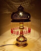 Handmade Moroccan Jeweled Brass Table Lamp