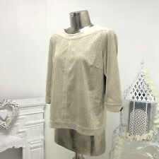 Brandtex Top Pullover Damen Damen Beige Wildleder Effekt UK Größe UK 14 SALE UVP £ 85