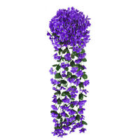 Artificial Flower Violet Plastic Fake Flower Vine Wall Hanging Art Wedding Decor
