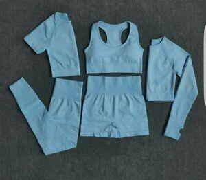 Womens 3 Piece Gym Set Lesure Yoga Gym Set Blue Fits UK 10- 12