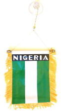 Nigeria MINI BANNER FLAG GREAT FOR CAR & HOME WINDOW MIRROR HANGING 2 SIDED