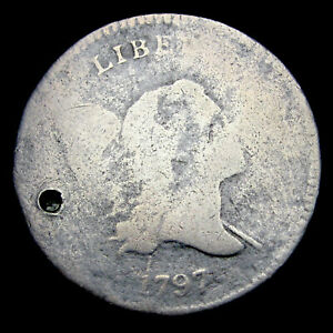 1797 1 above 1 Liberty Cap Bust Half Cent 1/2 Penny ----  Nice Holed ---- #E195