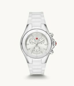 Michele Jelly Bean Chronograph Silver Tone White Silicone Watch MWW12F000090
