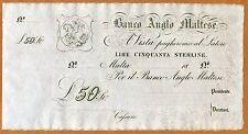 Malta, Banco Anglo Maltese £50 Sterling, 18xx (ca 1880 issue) P-S116 UNC > Rare
