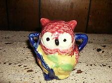 Vintage Owl Sugar Bowl Colorful Porcelain Two Handles Japan