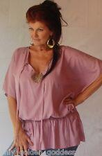 purple shirt blouse top OS M L XL 1X 2X  smocked waist blouson studs ties