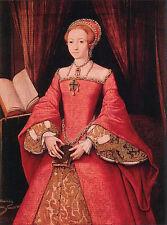 Oil painting female portrait - noblelady Queen Elizabeth in red canvas