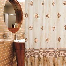 Rideau de douche en tissu colonial beige marron design 180x180 inclus anneaux