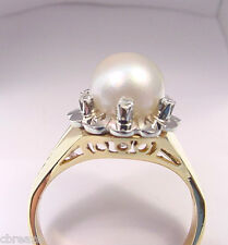 CULTURED AKOYA PEARL 8 mm and DIAMONDS 18K YELLOW and WHITE GOLD RING