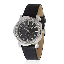 AUSTRIAN CRYSTAL BLACK DESIGNER OFFICE OR EVENING WATCH FAUX LEATHER  BAND