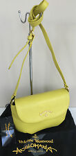 VIVIENNE WESTWOOD ANGLOMANIA YELLOW GRAINED LEATHER SHOULDER/CROSSBODY BAG BNWT