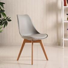 4 sillas suaves silla de comedor Silla oficina pies de madera Gris
