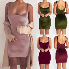 Womens Crushed Velvet Strappy Bodycon Ladies Sleeveless Evening Party Mini Dress