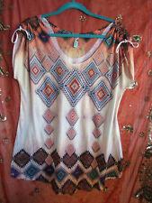 Big Bang orange multi colored Aztec/SW print short tie sleeves at shoulder XL EU