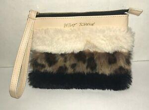 Fun Betsey Johnson Faux Fur Zippered Case Wristlet Clutch Handbag Purse