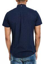 d0bb3aba507d Threadbare Men's New Simon Short Sleeve Printed Pattern Shirt Blue