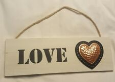 Hanging LOVE Sign Farmhouse Style metal heart Wall art Decor Plaque GLOBAL SHIP!