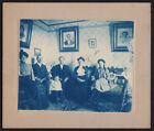 STOIC INTENSE VICTORIAN FAMILY LIVING ROOM w WALL PORTRAIT 1800s CYANOTYPE PHOTO