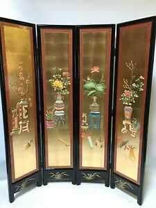 oriental furniture screen 6'x4 panels gold lacquer screen