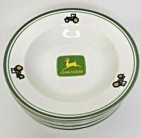 """Set of 8 John Deere Gibson 9"""" Soup Salad Pasta Bowls Green Rim Tractors"""