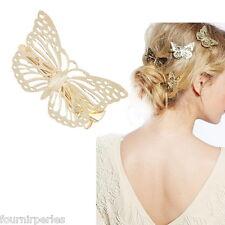 FP Epingle à Cheveux Pince Barrette Papillon Doré Femme Fantaisie 4.9x3.5cm