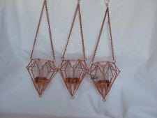 3 x  Hanging Geometric Copper Coloured Candle/Tealight Holders