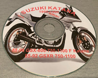 1985-1996 Suzuki Katana GSXR 750-1100 GSX-600 750 1100 F Service Manual on CD
