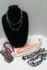 Vintage/Mod Mixed Lot of 7 Beaded Multi-strand glass , natural stone Necklaces