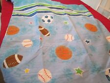 TWIN BED SHEET SET BALL GAMES SOCCER FOOTBALL BASEBALL BLUE STRIPES NWOT